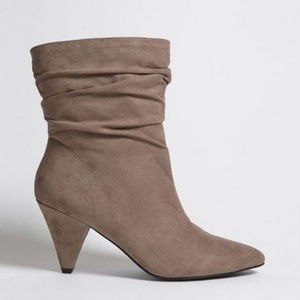 Ruched Faux Suede Ankle Boots